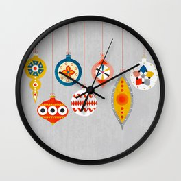 Christmas retro baubles no3 Wall Clock
