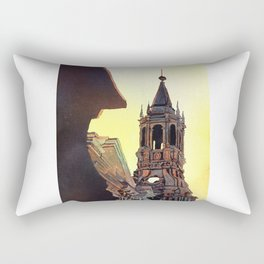 Watercolor painting of the Cathedral on the Plaza de Armas in Arequipa, Peru. Rectangular Pillow