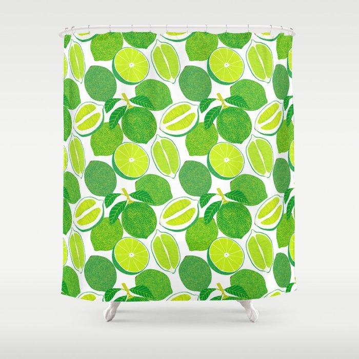 Lime Harvest Shower Curtain by leannesimpsonart | Society6