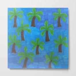 Palm Trees in the Ocean Metal Print