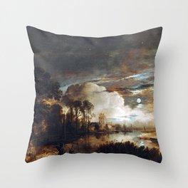 Aert van der Neer Moonlit Landscape with a View of the New Amstel River and Castle Kostverloren Throw Pillow