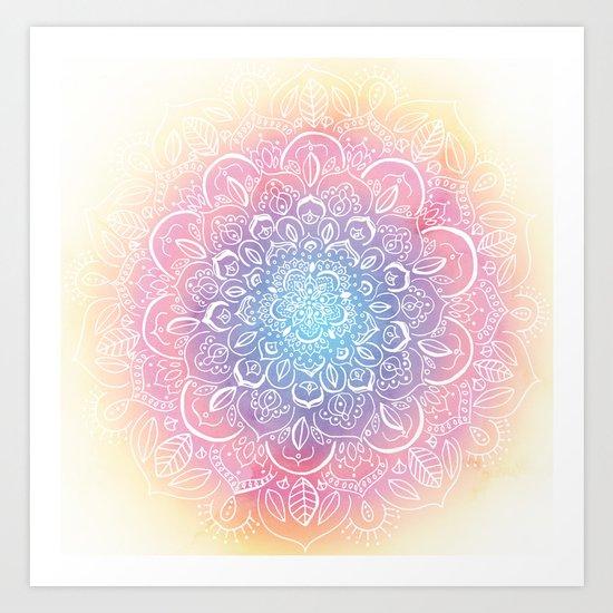 Rainbow Dust Mandala Art Print