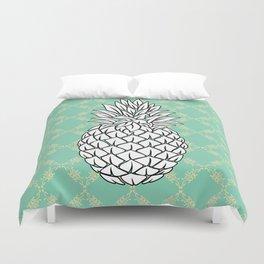 Pineapple in turquoise , tropical , hawaii , summer , fruit , pineapple print , pineapple design Duvet Cover