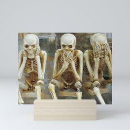 Three Wise Skeletons: Hear No Evil, See No Evil, See No Evil, Hear No Evil, Speak No Evil portrait painting Mini Art Print