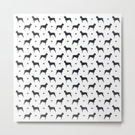 boston terrier silhouette pattern Metal Print