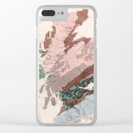 Vintage Geological Map of Scotland (1850) Clear iPhone Case