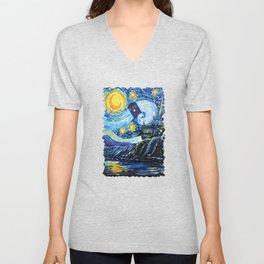 Tardis Flying Starry Castle Night Unisex V-Neck