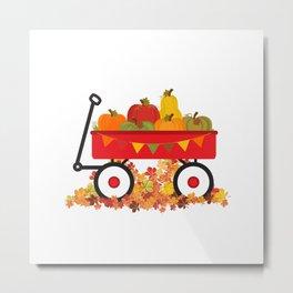Fall Pumpkins In A Wagon Metal Print