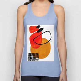 Mid Century Modern Abstract Vintage Pop Art Space Age Pattern Orange Yellow Black Orbit Accent Unisex Tank Top