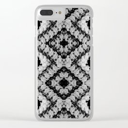 Black White Diamond Crochet Pattern Clear iPhone Case