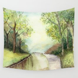 Trees by the canal Wall Tapestry
