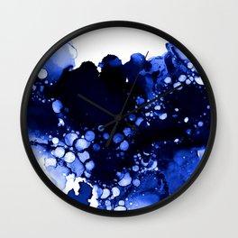 Royal Blue Abstract Ink Art Wall Clock