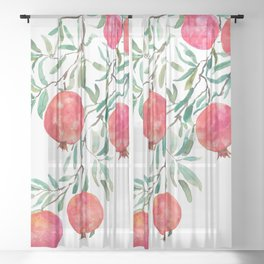 red pomegranate watercolor Sheer Curtain