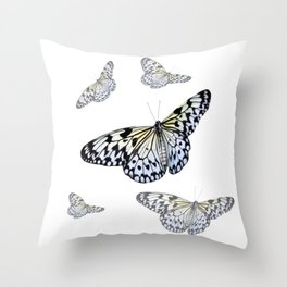 DESIGN OF FLUTTERING BLACK & WHITE BUTTERFLIES  ART Throw Pillow