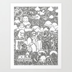 Oodles of Doodles of Singapore (White) Art Print