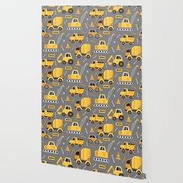 Construction Trucks on Gray Wallpaper