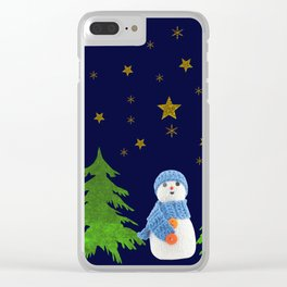 Sparkly gold stars, snowman and green tree Clear iPhone Case