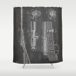 Bolt Action Rifle Patent - Browning Rifle Art - Black Chalkboard Shower Curtain