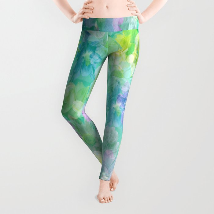 Enchanted Spring Floral Abstract Leggings