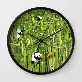 Traveling Pandas in Bamboo Forest Wall Clock