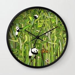 Pandas Bamboo Forest Wall Clock