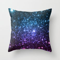 Galaxy Stars : Teal Violet Pink Ombre Throw Pillow