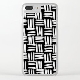 Black and White Basketweave Strokes Clear iPhone Case
