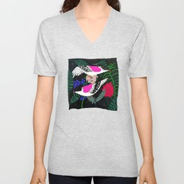 Sgraffito Birds - Bright Fuchsia Botanical Birds and Flowers Unisex V-Neck