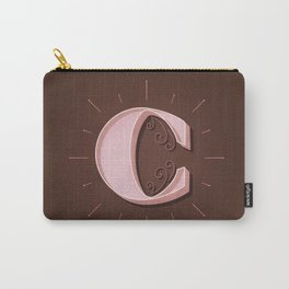 Drop Cap C - Custom Hand Drawn Letter - Pink Retro Monogram - Hand-Lettering Carry-All Pouch