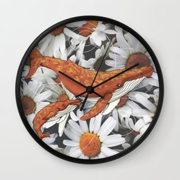 Flying whale and flowers Wall Clock