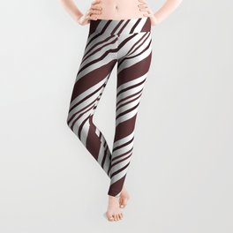 Pantone Red Pear and White Thick and Thin Angled Lines - Diagonal Stripes Leggings