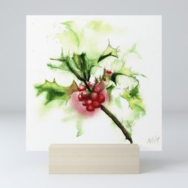 Holly Sprig, December Mist Mini Art Print