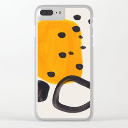Unique Abstract Unique Mid century Modern Yellow Mustard Black Ring Dots Clear iPhone Case