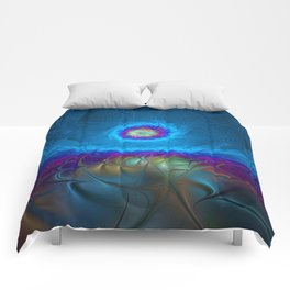 Fantasy, Abstract Fractals Art With Blue Comforters