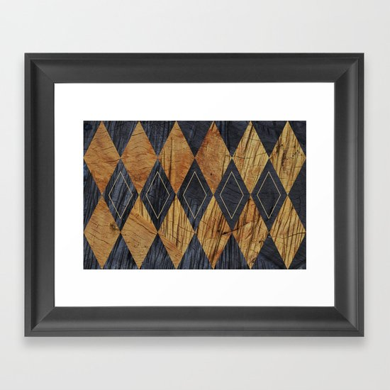Wood cut abstraction Framed Art Print