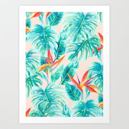 Tropical Paradise Pale Peach Art Print