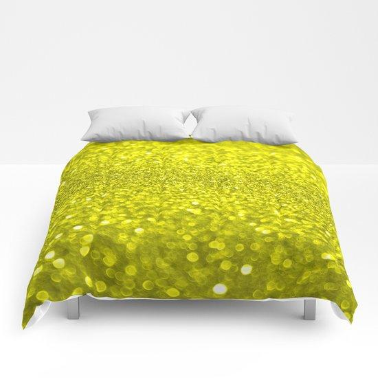 Bright Yellow Glitter Comforters