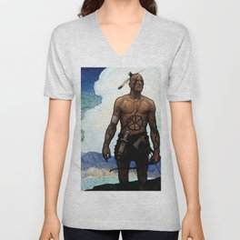 """N C Wyeth Western Painting """"The Mohican"""" Unisex V-Neck"""