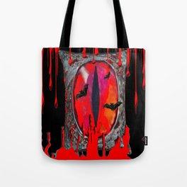 Red  Hells Gate Portal Blood & Bats Tote Bag