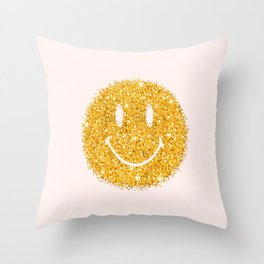 Happy Glitter Throw Pillow