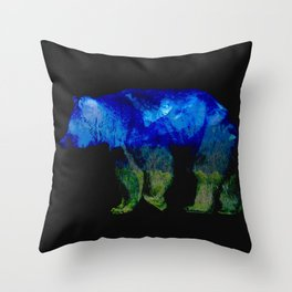 Grizzly in the Shadows Throw Pillow