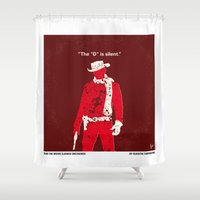 django Shower Curtains featuring No184 My Django Unchained minimal movie poster by Chungkong