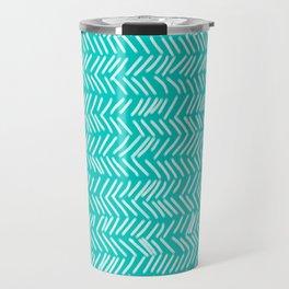 Turquoise Herringbone Lines Travel Mug