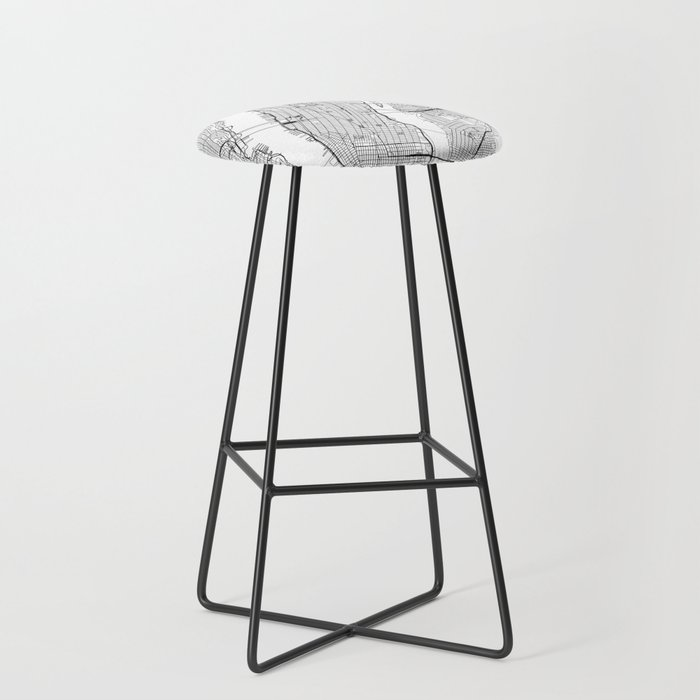 New York City White Map Bar Stool By Multiplicity Society6