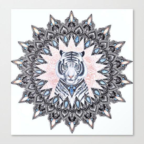 White Tiger Sapphire and Rose Mandala Canvas Print