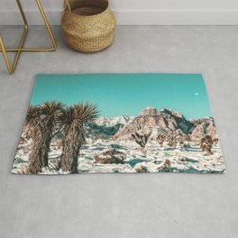 Vintage Lovers Cacti // Red Rock Canyon Mojave Nature Plants and Snow Desert in the Winter Rug