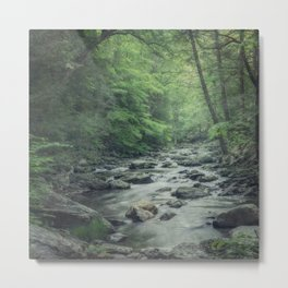 Misty Forest Stream - Peaceful Woodland Photo Metal Print