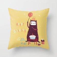 Happy birthday purple monster! Throw Pillow