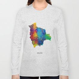 Bolivia Watercolor Map Long Sleeve T-shirt