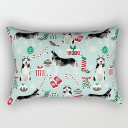 Siberian Husky christmas festive holiday gifts for husky owners by pet friendly Rectangular Pillow